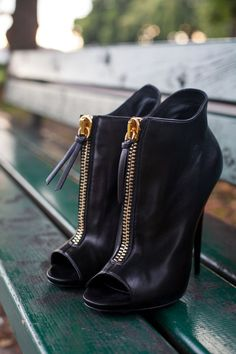 High heel black leather bootie. Can go with any kind of dress and outfit #Booties #Shoes #womanshoes