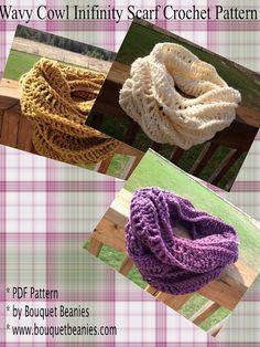 PURCHASED: PDF Crochet Pattern - WAVY COWL Scarf Crochet Pattern