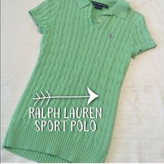 Ralph Lauren Sport Short Sleeve Sweater Shirt is in excellent condition - only worn once.  I am usually a size small and this fits me.  It is a size medium.  It has stretch to the material so will fit a medium as well.  Great for Easter! Ralph Lauren Sweaters