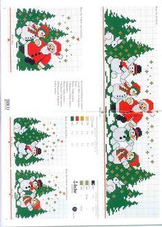 Cross stitch snowmen, santa and christmas trees Xmas Cross Stitch, Cross Stitch Borders, Cross Stitch Charts, Cross Stitch Designs, Cross Stitching, Cross Stitch Embroidery, Embroidery Patterns, Cross Stitch Patterns, Christmas Drawing
