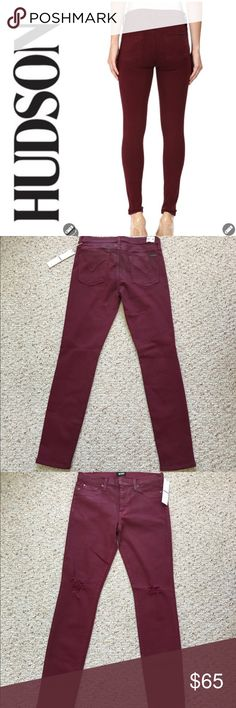 NWT Hudson Midrise Nico Distressed Skinny Jeans NWT Hudson Midrise Distressed Nico Super Skinny Jeans are featured in Cabernet. This reddish burgundy color is perfect for work or out on the town. This is a tight fitting jean. Front fly zip with 1 button closure. Dark hardware. Belt loops. Distressed at knee area. Slight fade throughout. 2 faux front pockets. 1 coin pocket with Union Jack stud. Rear pockets with Union Jack cloth tag. 43% Vicose, 33% Cotton, 17% Lyocell, 5% Polyester, 2%…