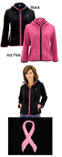 $24.95 Pink Ribbon Trimmed Polar Fleece Jacket~ Every Purchase Funds Mammograms for Women in Need.