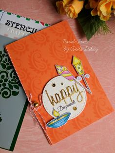 A Quick Diwali card with a traditional and Ethnic look, beautiful colors. Diy Diwali Cards, Handmade Diwali Greeting Cards, Diwali Card Making, Diy Diwali Decorations, Diwali Diy, Diwali Gifts, Happy Diwali, Diwali Gift Box, Diy Cards