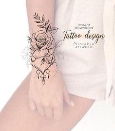 Tattoo design Flower Digital female floral pattern design to print, tattoo for wrist hand ankle foot, unique tattoo art woman Cool Wrist Tattoos, Forarm Tattoos, Flower Wrist Tattoos, Trendy Tattoos, Body Art Tattoos, Hand Tattoos, Sleeve Tattoos, Unique Tattoos For Women, Tattoos For Women Flowers