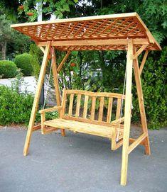 Hollywoodschaukel Aus Holz, Kiefer Mit Rangkitter Dach In Garten U0026  Terrasse, Möbel, Hollywoodschaukeln