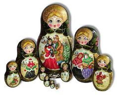 Traditional Russian Folk Art   piece exclusive matrioshka set featuring scenes from life in a Russian ...