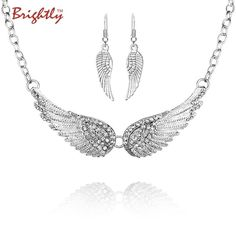 Angel Wings Choker Necklaces. Item Type: NecklacesFine or Fashion: FashionChain Type: Link ChainShape\pattern: FeatherStyle: TrendyMetals Type: Zinc AlloyNecklace Type: Chokers NecklacesBrand Name: BrightlyPendant Size: 4 cmGender: WomenModel Number: AE10101NMaterial: GlassFunction: Wear OrnamentJewelry: NecklacesColor: SilverPackage: Opp bagShape: NecklaceStyle: Necklace for WomenType: Jewelry necklaceModel: Statement NecklaceFemale: Elegant necklaceAccessory:...