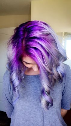 Purple, lavender, gray, and blue hair