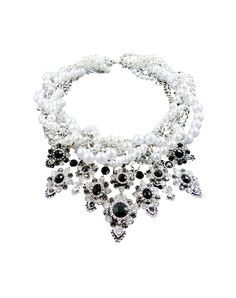 White Pearl with Crystal Statement Bib Necklace, White, AIMUSHI | VIPme