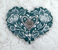 Hand Painted Dark Teal MUD Roses Cookie with by MargotTheMUDLady, $25.00