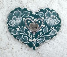 Hand Painted Dark Teal MUD Roses Cookie with Rhinestone Bling 16