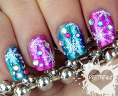 shimmery snowflake nail art from prettyfulz.blogspot