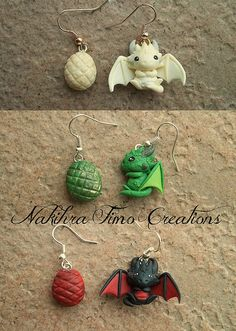 I can see you having a tiny squeal over these. Daenerys's Dragons Earrings Polymer Clay