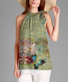 Loving this Green Floral Tie-Detail Tank on #zulily! #zulilyfinds