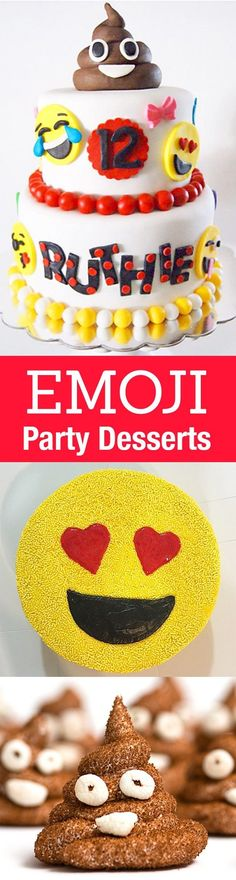 Emoji cake ideas and dessert inspiration for an Emoji Party. From birthday and graduation parties to school events, an emoji party theme is fun for all! http://LivingLocurto.com