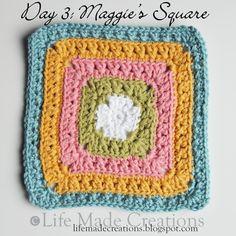 Free Maggie's square crochet block pattern.