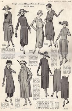 Elegant Musings: September 1920 Fashions. I especially love the skirts in the lower right of this image.