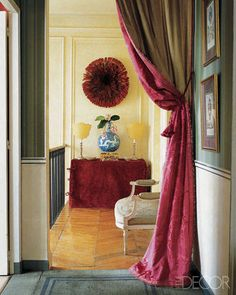 In Design Dictionary, the design term portiere is defined and illustrated. A portiere is a type of drapery used over a door or doorless entry. Doorway Curtain, Door Curtains, Hanging Curtains, Beaux Arts Paris, Velvet Drapes, Custom Drapes, Chinoiserie Chic, Pink Room, Interior Design Tips