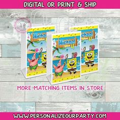 Party Gift Bags, Party Gifts, Party Favors, Custom Gift Bags, Customized Gifts, Spongebob Square, Brochure Paper, Craft Bags, Printing Labels