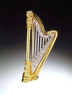 Crystal Harp brooch pin.