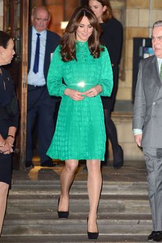 She teamed a Mulberry dress with black court shoes to attend the opening of the Cambridge Treasury Gallery at London's Natural History Museum.