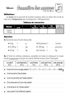 Mesures de masse - Masse g, kg - Cm2 - Exercices avec ...