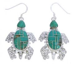 Genuine Sterling Silver Turquoise Inlay Turtle Hook Dangle Earrings AX23768