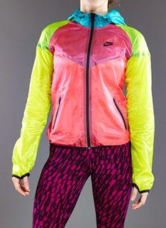 Nike Womens HYP Windrunner - Womens Running Clothing - Laser Crimson-Venom Green-Black