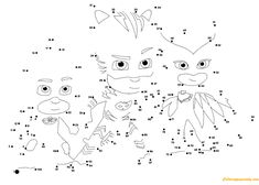 PJ Masks Connect The Dots Coloring Page – Free Coloring Pages Online - Organspende Zitate Pj Masks Coloring Pages, Paw Patrol Coloring Pages, Coloring Pages To Print, Coloring For Kids, Printable Coloring Pages, Coloring Pages For Kids, Coloring Books, Pj Masks Printable, Dot To Dot Printables