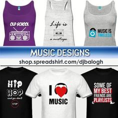 Newly added music themed designs! shop.spreadshirt.com/djbalogh  #music #rap #mixtape #listen #dance #ipod #hip-hop #album #rnb #club #play #love #playlist # oldschool #radio #cassette #charts #cd #lyrics #record #boombox #funny