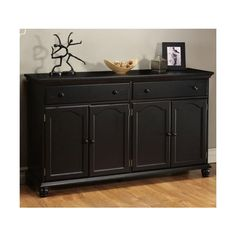 Wonderful Harwick Black Credenza Sideboard Buffet Table Like That It Has 2 Long  Drawers For Placemats, Etc. Small Drawers On A Sideboard Do Nothing For Me.