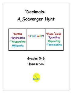 This scavenger hunt project requires students to locate 22 items containing decimals.  Students use the internet, newspapers and magazines to locate items, as well as find household items that contain decimals (cover of a box of cereal).  Supplemental, optional, and culminating activities are listed.