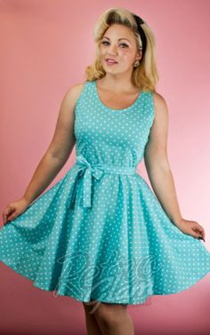 Retro Glam - Heart of Haute Summer Dress in Aqua Dot