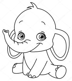 Descargar - Elefantito contorneado — Ilustración de stock #6284451