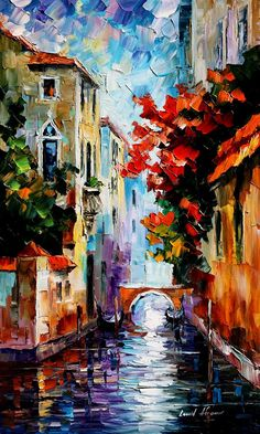 "MORNING IN VENICE — PALETTE KNIFE Oil Painting On Canvas By Leonid Afremov - Size 15""x25"""