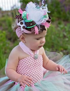 Our Beautiful Brown Pink and Mint Green Over the Top Hair Bow or Baby Headband comes attached to your choice of alligator clip, French barrette, or as a bow . Baby Tutu Dresses, Baby Dress, Green And Brown, Mint Green, Fabric Tutu, Patriotic Outfit, Big Bows, Toddler Fashion, Birthday Shirts