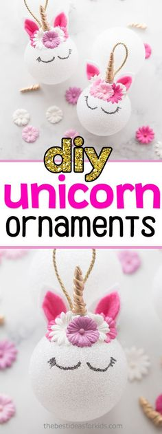 Unicorn Ornaments Easy DIY Tutorial is part of Christmas Unicorn crafts - These unicorn ornaments make the perfect Christmas gift! Make these unicorn Christmas ornaments for a fun craft or to give as gifts this Christmas! Unicorn Christmas Ornament, Kids Christmas Ornaments, Unicorn Ornaments, Christmas Crafts For Kids, Xmas Crafts, How To Make Ornaments, Homemade Christmas, Christmas Holidays, Christmas Decorations