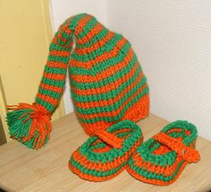 Newborn Photography Prop Baby Elf Hat Gnome and shoes by Ifonka, $32.00