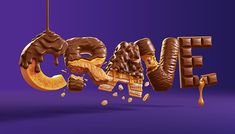 We were delighted to be involved in creating this deliciously fun set of type treatments for the lovely people at Davis Design.The concept was to have each of Canada's top 5 Cadbury bars represented in letter form. This meant dissecting and eating a LOT… Cadbury Dairy Milk, Food Typography, Typography Design, Retro Typography, Japanese Typography, Lettering, Typography Poster, 3d Character, Alphabet