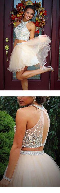 sleeveless halter neckline beaded short champagne tulle homecoming dress