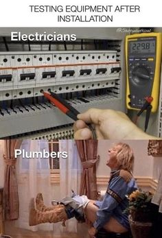 TESTING EQUIPMENT AFTER INSTALLATION Electricians Plumbers...
