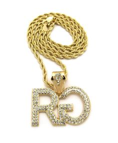 Hip Hop Rich Gang Chain Pendant Gold w/ Rope Chain Necklace - Bling Jewelz