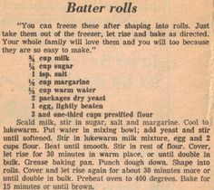 Vintage Recipe Clipping For Batter Rolls Create Perfect Melt In The Mouth Dinner Rolls Cooking with Retro Recipes, Old Recipes, Vintage Recipes, Bread Recipes, Cooking Recipes, Recipies, Pastry Recipes, Family Recipes, Cooking Tips