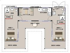 Container House - Shipping container house floorplan using 3 containers with 2 bedrooms - Who Else Wants Simple Step-By-Step Plans To Design And Build A Container Home From Scratch?