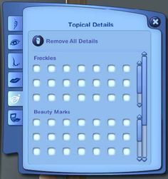 Mod The Sims - UI Mod--CAS Moles--See more Freckles, Beauty Marks, and Wrinkles