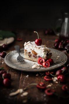 Cherry Almond Meringue Butter Cake photography Cherry Almond Meringue Butter Cake - The Kitchen McCabe Dark Food Photography, Cake Photography, Small Desserts, Great Desserts, Kreative Desserts, Cake Recipes, Dessert Recipes, Let Them Eat Cake, No Bake Cake