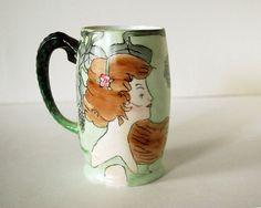 1913 Porcelain Cider Mug Hand Painted Antique made in Bavaria