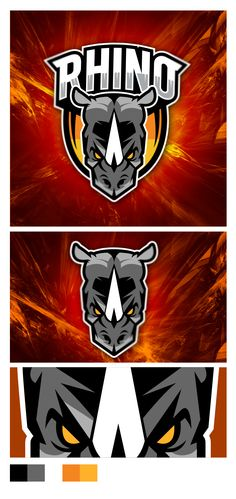 Sport Logo RHINO on Behance Logo Branding, Branding Design, Logo Design, Rhino Logo, Fantasy Logo, Gear Logo, Logo Background, Sports Team Logos, Mascot Design