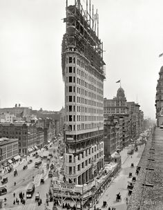 Flat Iron Building under construction, 1902 via Strikes Our Fancy. '23 Skidoo' yelled by Police at men trying to see ladies dresses blown up due to strong winds around this building due to its shape!! Fuller Bldg. 175 Fifth Ave in Manhattan. Surrounding area is referred to as Flat Iron District. National HIstoric landmark