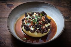 62 degree egg, mash, morcilla, bacon dashi